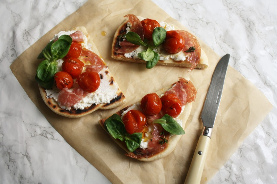Tomato, ricotta and salami flatbread wish to dish recipe (12)