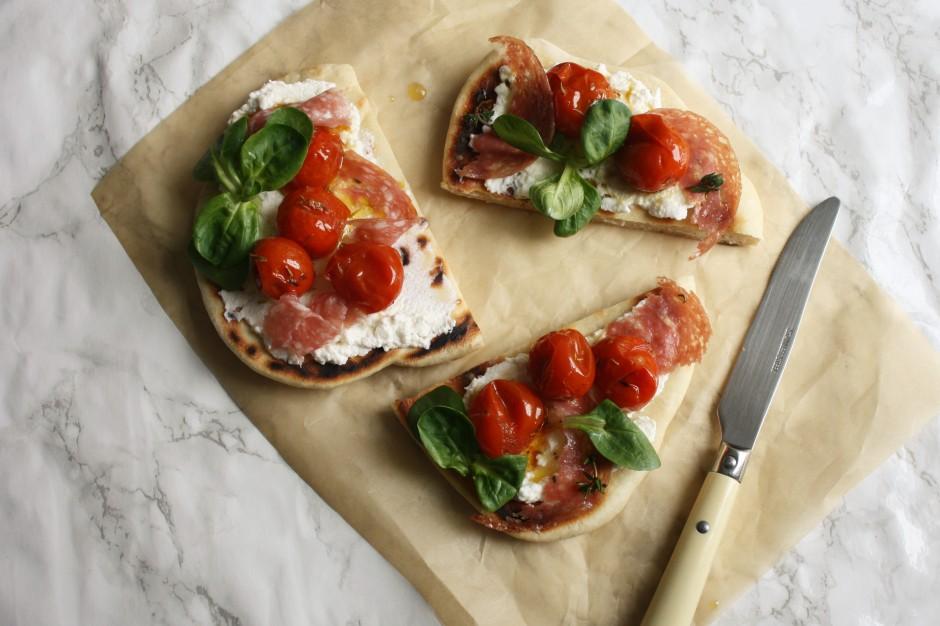 Tomato, ricotta and salami flatbread wish to dish recipe (9)